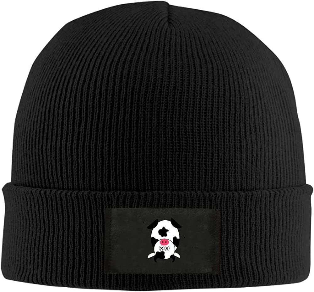 NO4LRM Men Women Inverted Cow Warm Stretchy Solid Daily Skull Cap Knit Wool Beanie Hat Outdoor Winter