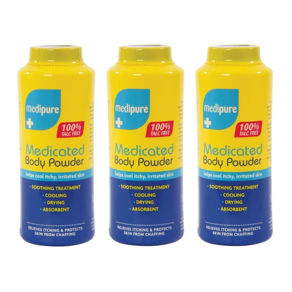 3 x MEDIPURE Medicated Body Powder 100% TALC FREE 200g (600g) 21121