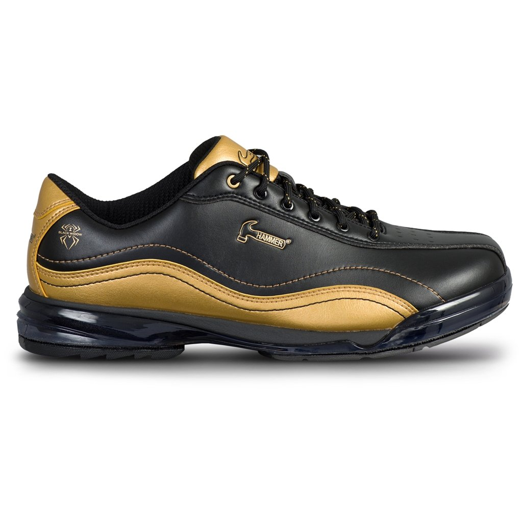 Hammer Bowling Products Mens Black Widow Gold Performance Bowling Shoes- Right Hand Wide 7, Black/Gold, 7E