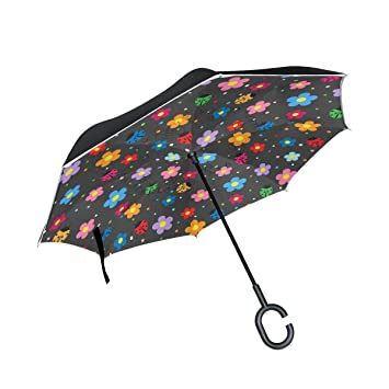 TIZORAX Little Ladybugs - Paraguas reversible de doble capa con mango en forma de C para