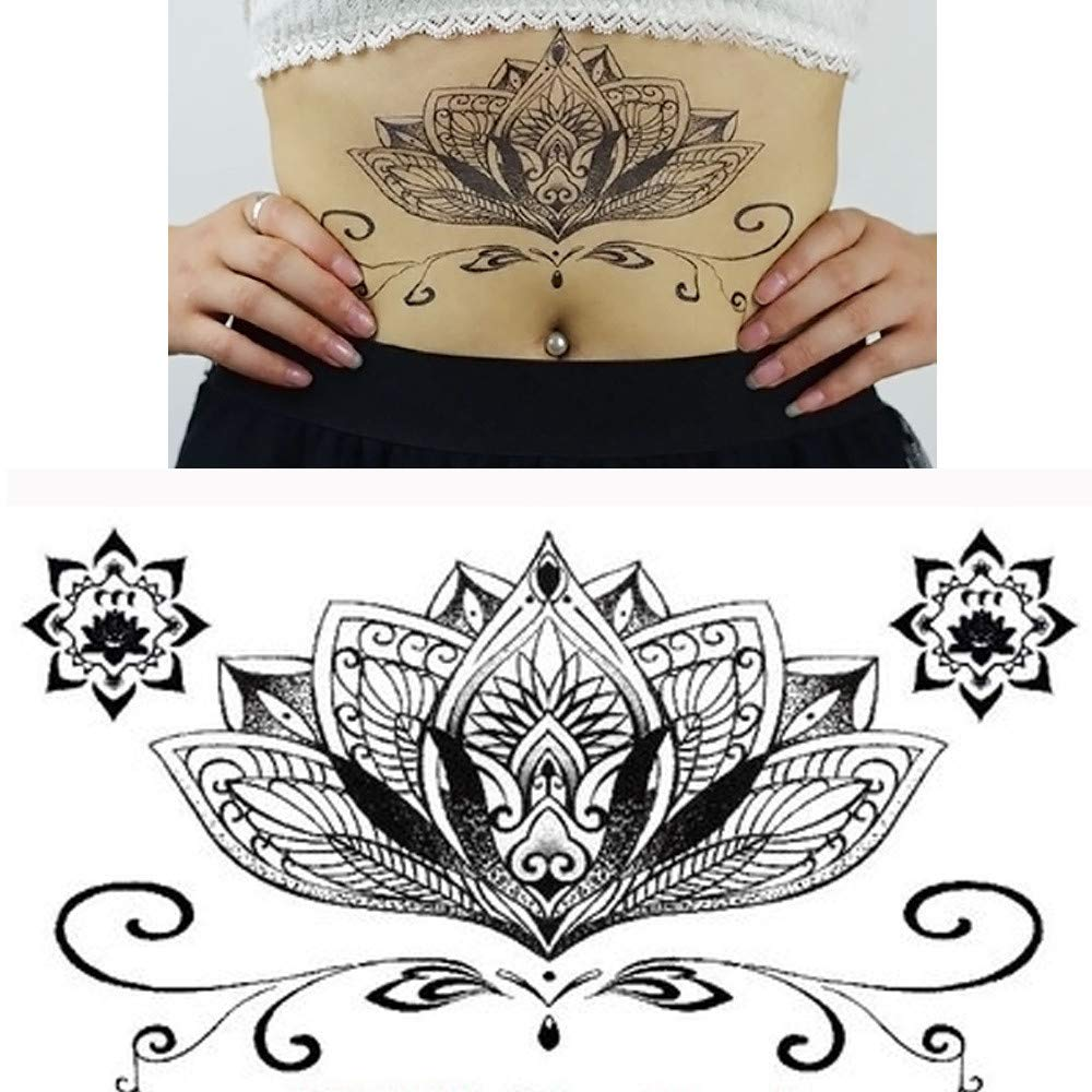 Sexy Temporary Tattoos for Women Waterproof Body Art Tattoos Stickers Removable Fake Tattoos Party Favors for Women & Girls 1PC (J)