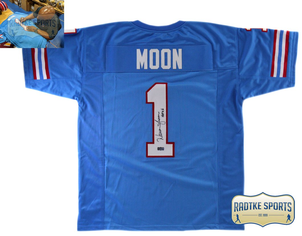 a58fbe49 Warren Moon Autographed/Signed Houston Throwback Powder Blue Custom Jersey  with