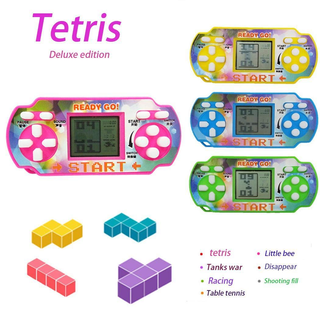 Penpos Classic Tetris Game Console Handheld Game, Mini Game Console, Electronic Game Console, Good Gift for Kids 9 x 4 x 4cm (Random Color)