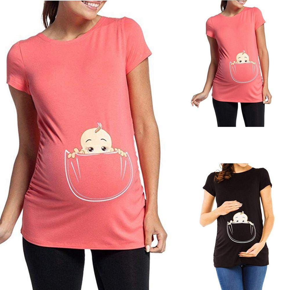 Zerototens Womens Maternity T-Shirt Pregnancy Clothes Funny Baby Peeking Print Shirt Short Sleeve Crewneck Blouse Top Tunic Tee