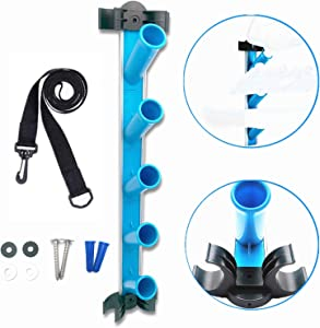 MENG ZHI AO Caddy Pool Equipment Organizer Pool Cleaning Accessory Holder Rack Perfect for Poles Brushes Nets Vacuums and Other Cleaning Attachments