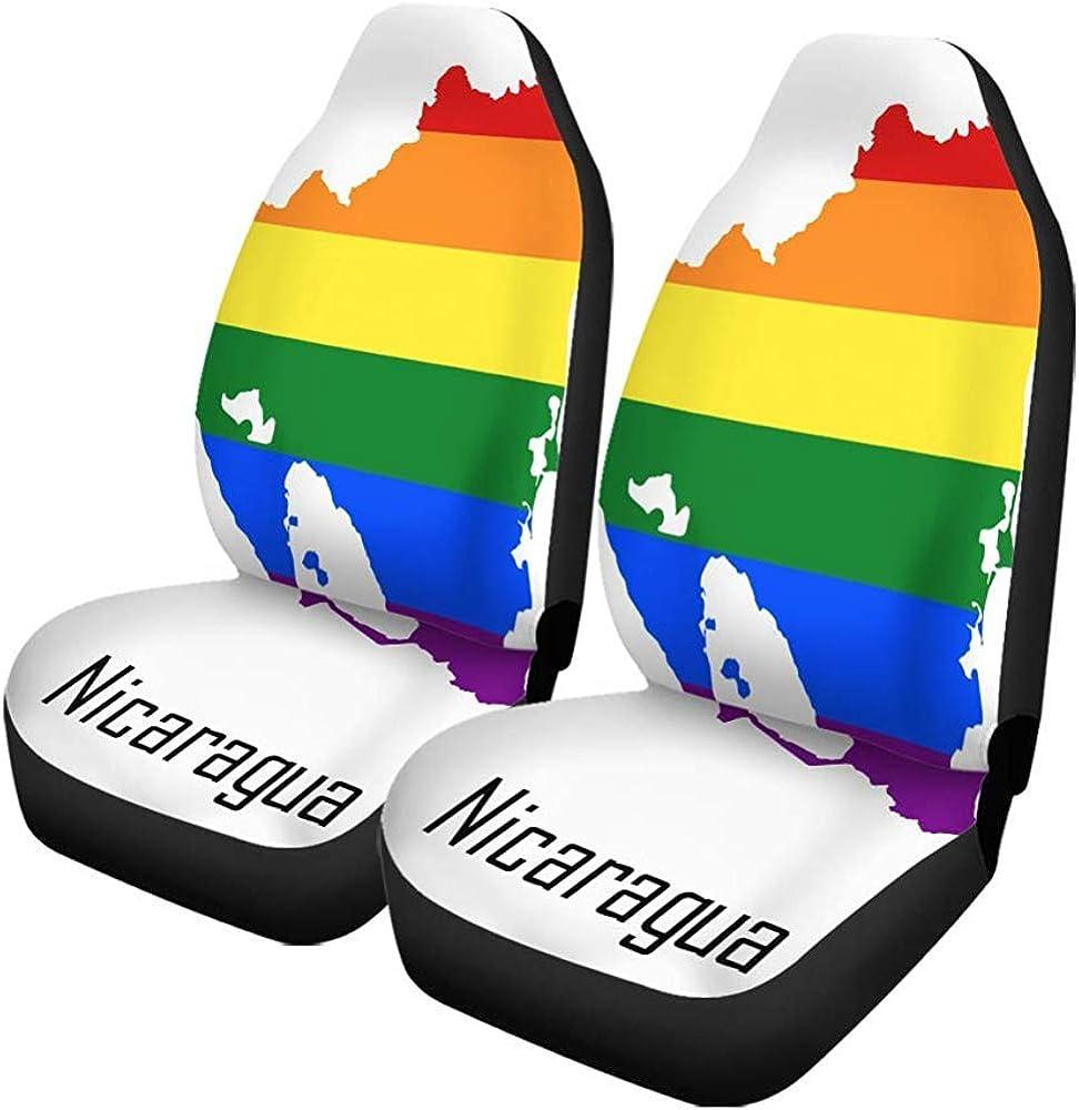 Beth-D Juego De 2 Fundas De Asiento De Automóvil Rainbow Map Of Nicaragua En Colores Lgbt Lesbian Gay Auto Front Asientos Protector Para Automóvil, Suv Sedan, Camión