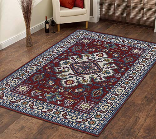 (Msrugs KLM Traditional Oriental Medallion Persian Style Blue Red Area Rug )