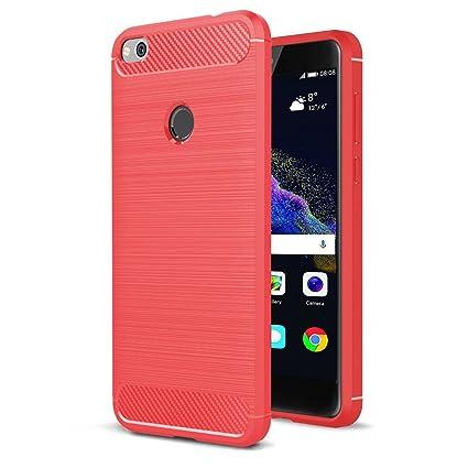 Funda Huawei P8 Lite 2017, Yoowei® [Rugged Armor] Shock-absorption Suave TPU Rojo Silicona Fundas Para Huawei P8 Lite 2017 Carcasa P8 Lite 2017 Fibra ...