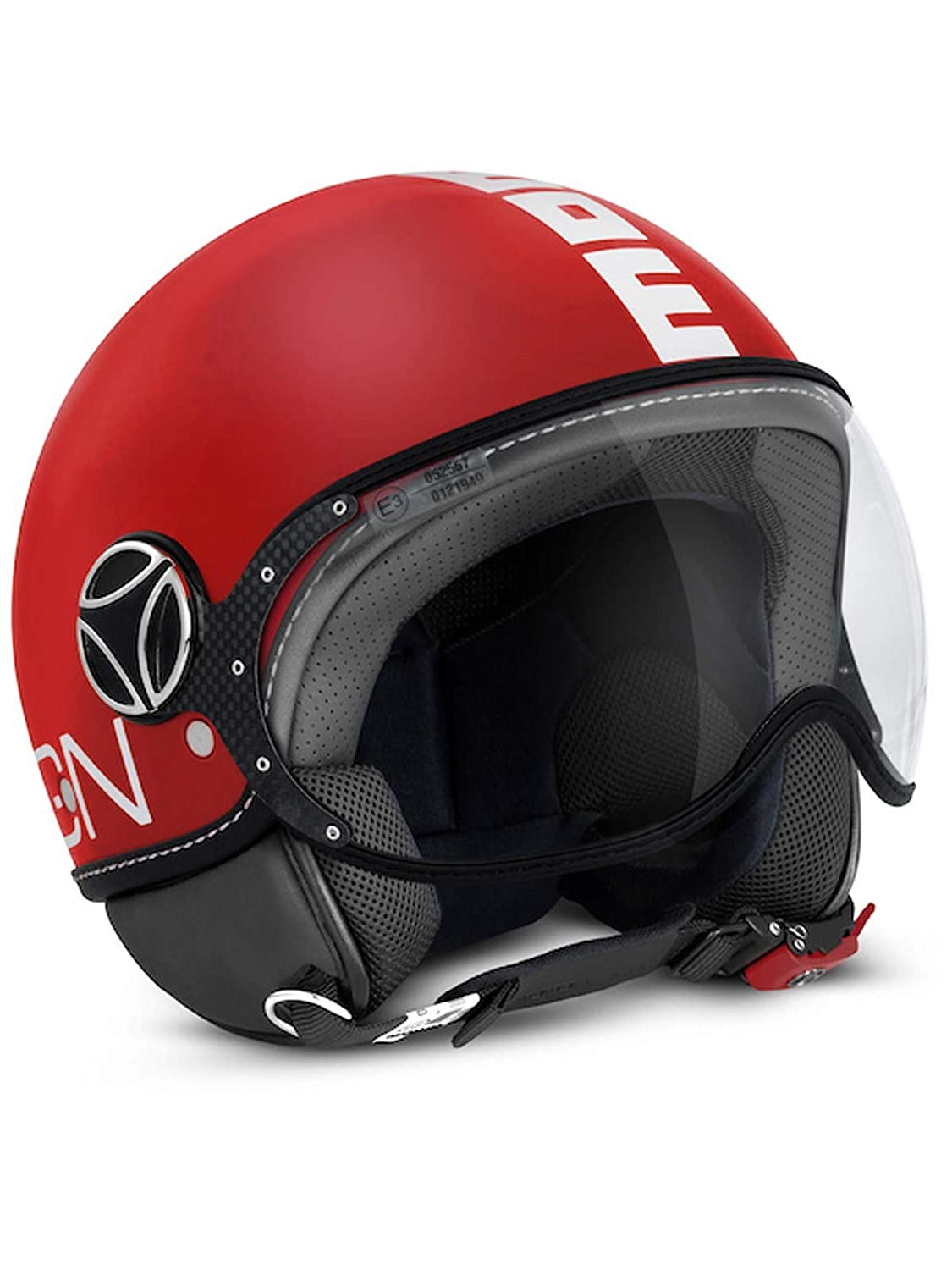 Momo FGTR Classic Open Face Motorcycle Helmet in Red Matt with Logo White