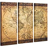 Decor MI Vintage World Map Canvas Wall Art Prints Stretched Framed Ready to Hang Artwork Wall Decor for Living Room…