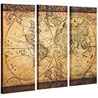 Decor MI Canvas Wall Art for Old Vintage World Map