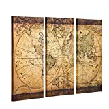 Decor MI Vintage World Map Canvas Wall Art Prints Stretched Framed Ready to Hang Artwork Wall Decor for Living Room Office Decoration 16''x32 3pcs