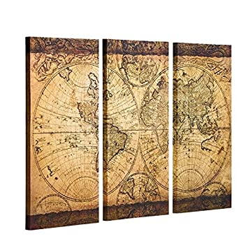 Amazoncom Decor Mi Vintage World Map Canvas Wall Art Prints