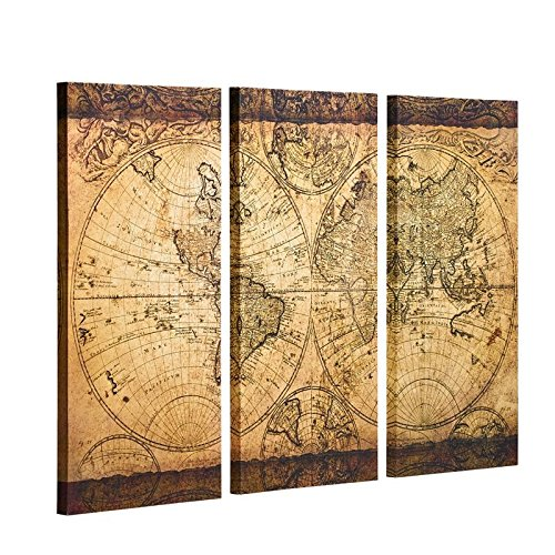 Decor MI Vintage World Map Canvas Wall Art Prints Stretched Framed Ready to Hang Artwork Wall Decor for Living Room Office Decoration 16''x32 3pcs by Decor MI