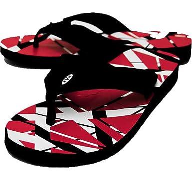 edeb580ac1e932 Amazon.com  Edward Eddie Van Halen RED Stripes Flip Flops Sandals ...