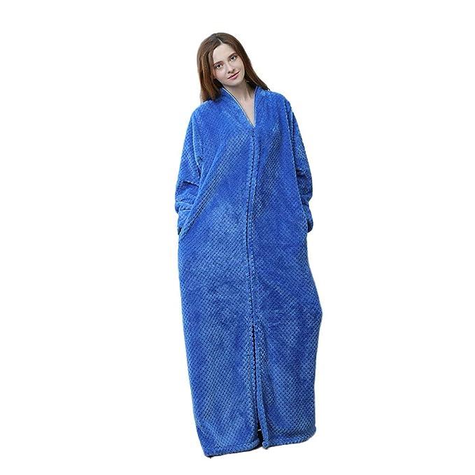 Acogedor Suave Pijamas De Bata Albornoz De Cremallera, Bolsillo Lateral Ropa Fluffy Unisex Manga Larga Longitud del Tobillo Fluffy Mujeres Mientras Que La: ...