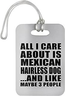 Designsify All I Care About is Mexican Hairless Dog - Luggage Tag Étiquette de Valise Croisière Valise Baguage - Cadeau pour Anniversaire Fête des Mères Fête des Pères Pâques 600243601435