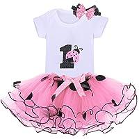 Baby Girls 1st Birthday Cake Smash 3pcs Outfits Set Cotton Romper Bodysuit+Tutu Dress+Flower Headband Princess Skirt…