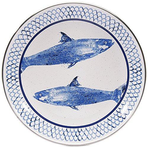 Enamelware - Fish Camp Pattern - 8 Inch Sandwich Plate