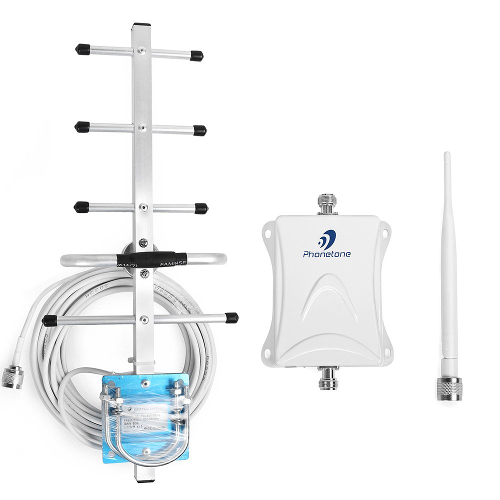 Phonetone GSM 850MHz 70db Cellular Cell Phone Mobile signal Booster Repeater Amplifier with Outdoor Yagi Antenna and wireless indoor mini Antenna Kit (Whip+Yagi Antenna)