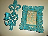 Wall Candle Holder, Hanging Picture Frame, Upcycled, Vintage, Shabby Chic, Distressed, Teal and Gold, Hand Painted, BURWOOD, Baroque Design, Wall Decor, Wall Accents