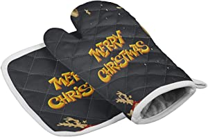Kitchen Heat Resistant Hot Oven Mitts & Potholders, Merry Christmas Elk with the Scarf the Universe - Microwave Oven Gloves for BBQ Cooking Baking, Grilling, Machine Washable