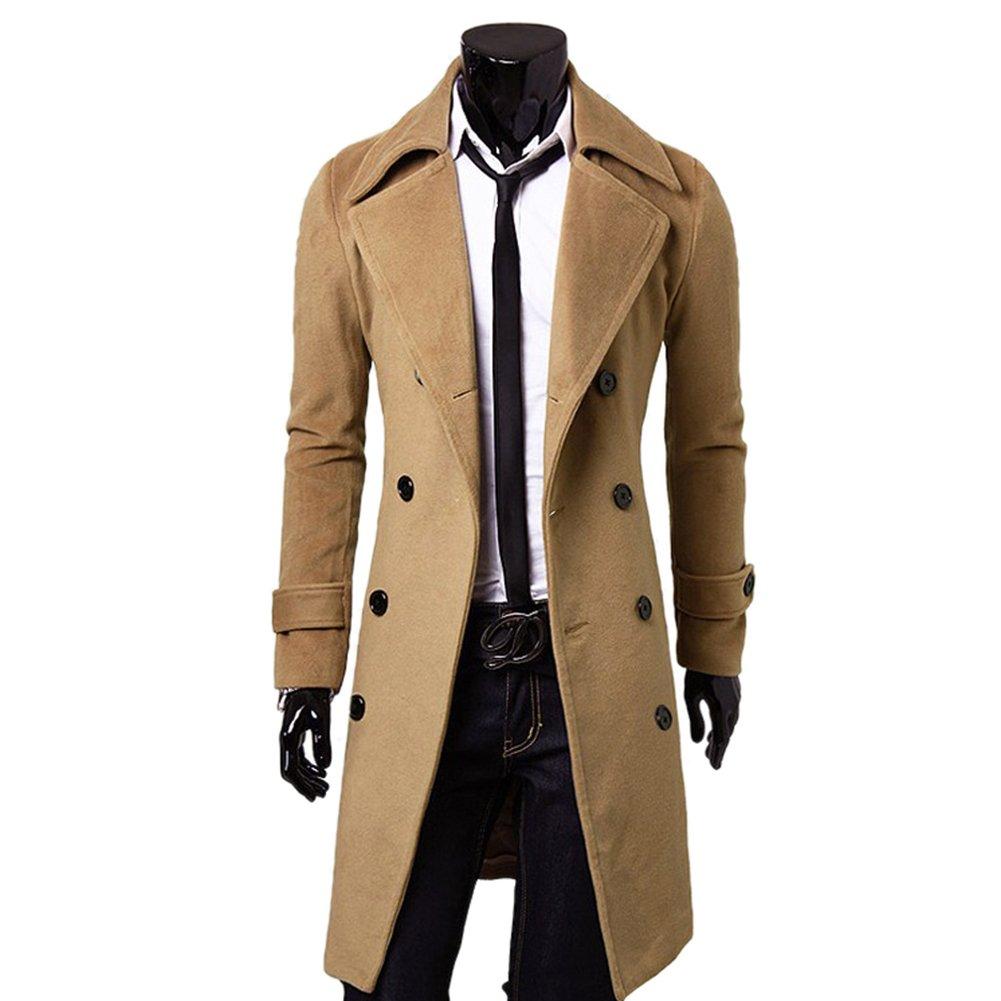 Amurleopard Men's Trench Coat Long Jacket Double Breasted Overcoat