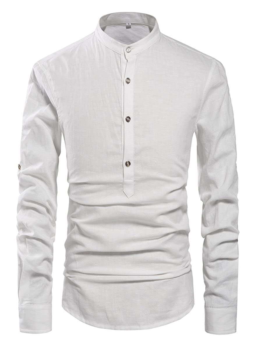 Mens Vintage Shirts – Casual, Dress, T-shirts, Polos NITAGUT Men Henley Neck Long Sleeve Daily Look Linen Shirts $25.99 AT vintagedancer.com