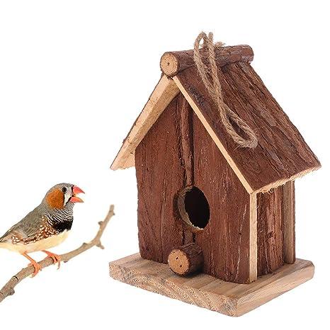 Manyo Casa De Pájaros De Madera Natural, Nido Colgante, Jaula De ...