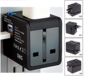 Dana BG Travel Adapter Worldwide All-in-One Universal Plug AC Power International with Dual Fast Charging USB Ports for European to USA EU UK AU Italy India Sweden Sell Phone Laptop Mac Book