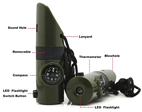 Multifunktional 7 In 1 Camping Wandern Outdoor Pfeife mit Kompass Lupe LED Taschenlampe Thermometer f/ür Notfall Survival Reisen Rucksackreisen hunting-army gr/ün