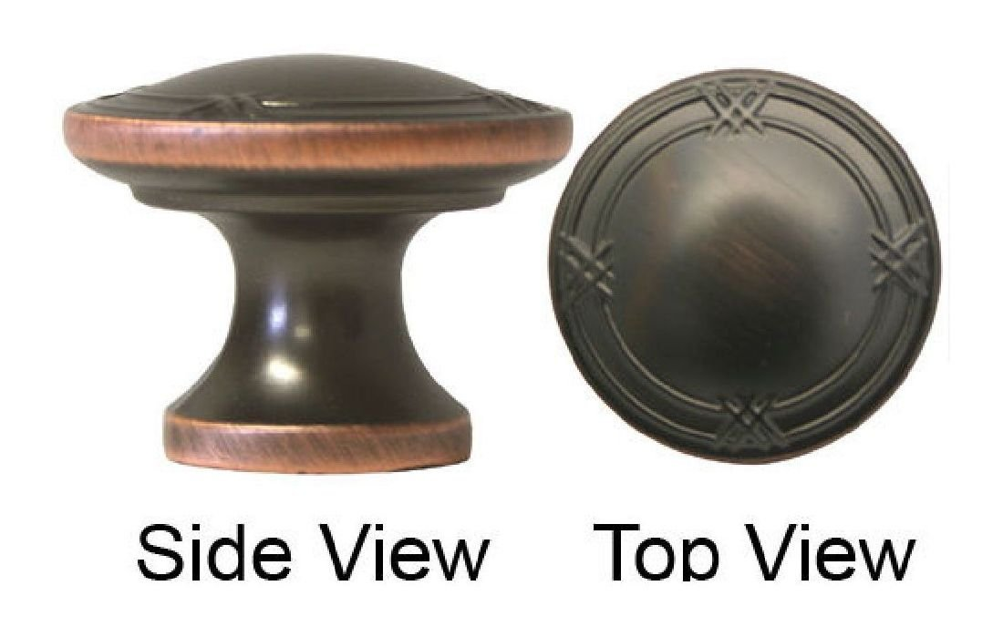 """25 Oil Rubbed Bronze 1 1//4/"""" Ribbon /& Reed Round cabinet knobs free shipping"""