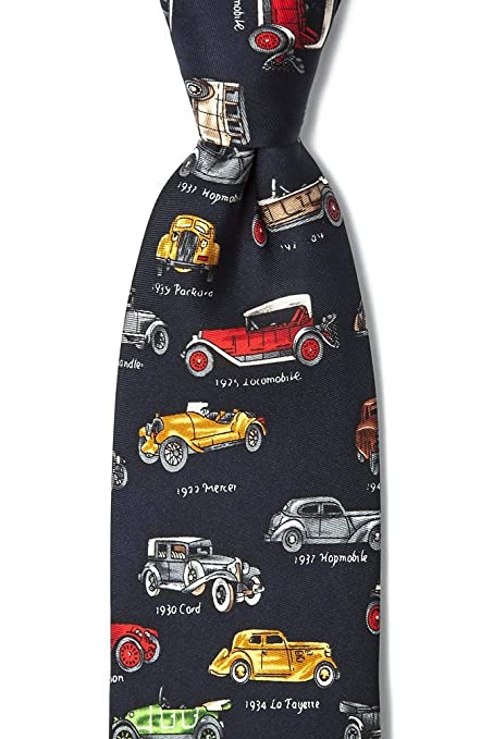 1920s Bow Ties | Gatsby Tie,  Art Deco Tie Navy Blue Silk Tie | Antique Cars Necktie $49.95 AT vintagedancer.com