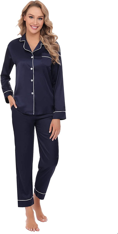 Arblove Conjunto de pijama de satén para mujer con botones de ...