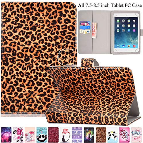 Universal Case for 7.5-8.5 inch Tablet, Artyond PU Leather Card Slot Stand Cover for iPad Mini1/2/3/4,Fire HD 8,Galaxy Tab E/Tab A 8.0 & Other 7.5-8.5 inch Andriod,iOS Tablet (Leopard Print) (Print Kindle Case)