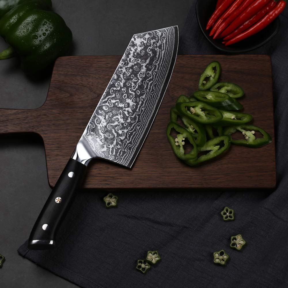 TURWHO Cleaver Knife - Japanese VG-10 Damascus Steel - Chinese Chef's Knife for meat and vegetable with Ergonomic G10 Handle - 7.5'' by TURWHO (Image #6)