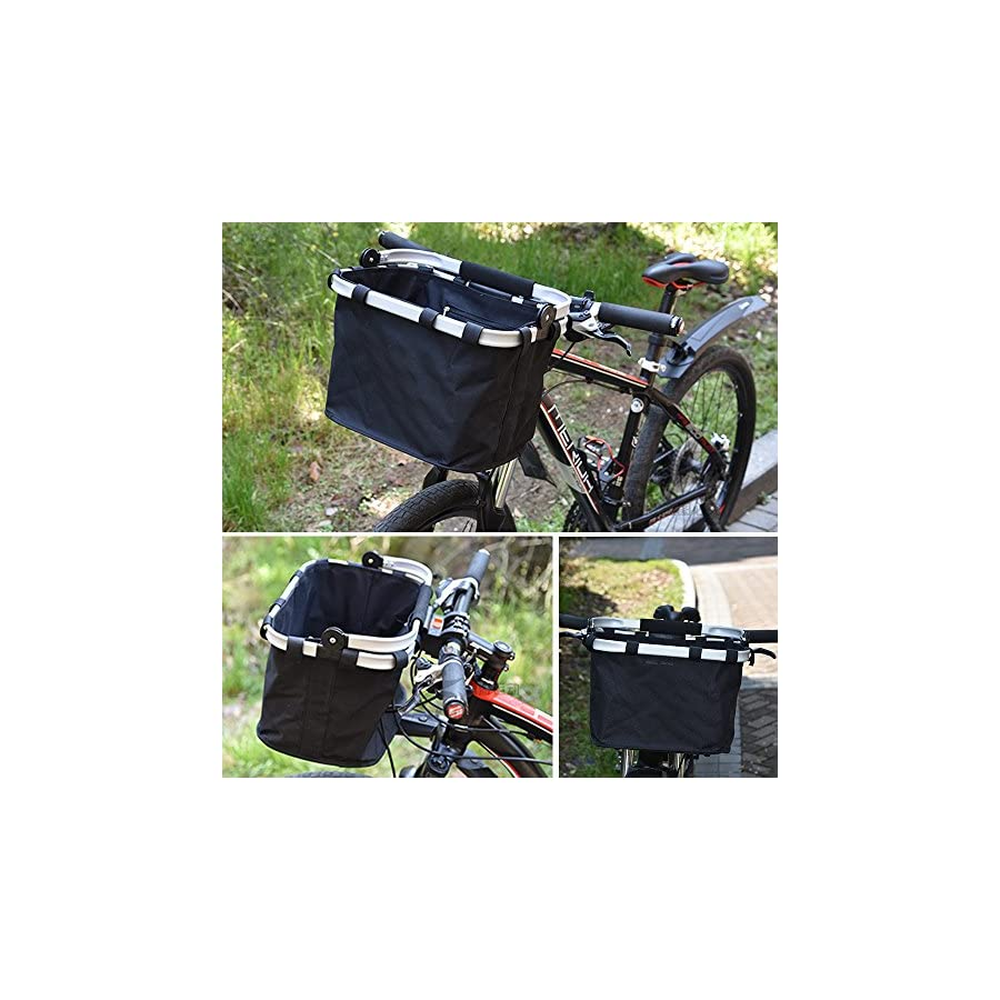 ANZOME Folding Bicycle Bike Basket, Front Detachable Handlebar Cycling Pet Bike Basket Carrier Bag Pet, Handle Diameter 22.7 32mm(0.8in 1.2in) Maximum Loading Capacity 5kg(11lb) …