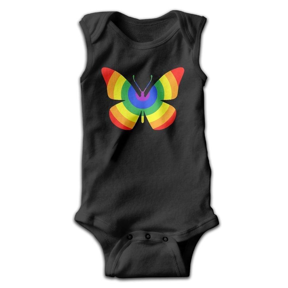braeccesuit Rainbow Butterfly Infant Baby Boys Girls Infant Creeper Sleeveless Romper Bodysuit Onesies Jumpsuit Black