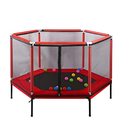 5ft Kids Trampoline with Safety Enclosure Net, Outdoor Jumper Trampolines for Family Entertainment, Ball Pool Mini Trampoline 220Lbs (Red): Kitchen & Dining