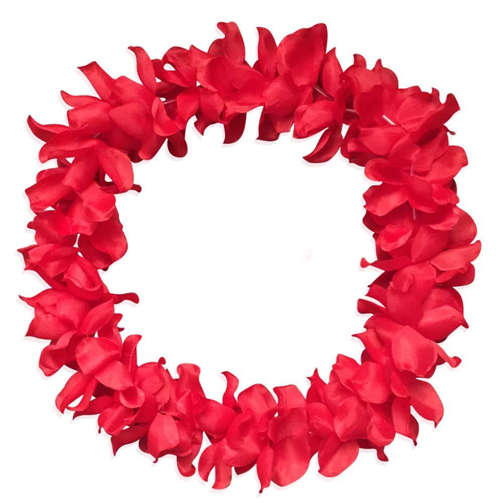 Tropical Hawaiian Luau Flower Lei Party Favors, MatureGirl Hawaii Silk Flower Lei Theme Party Favors Wreaths Headbands Holiday Wedding Beach Birthday Decorations (Red)