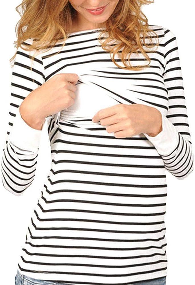 DolceTiger V/êtements de maternit/é Mode Femmes Maternit/é /À Manches Courtes Rayures Imprimer Tops Grossesse T-Shirt V/êtements /Élasticit/é Grande Taille Hauts Blouse Taille S-XL