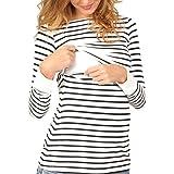 Topgrowth T Shirt Premaman Maglietta a Righe Manica Lunga maternità Camicetta A Doppio Strato Blusa Donna Sweatshirt Allattamento Top