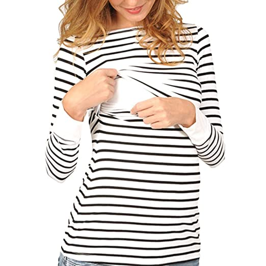 1207af0d34b Women's Nursing&Maternity Long Sleeve Loose Casual Striped Breastfeeding  Tops (White, ...
