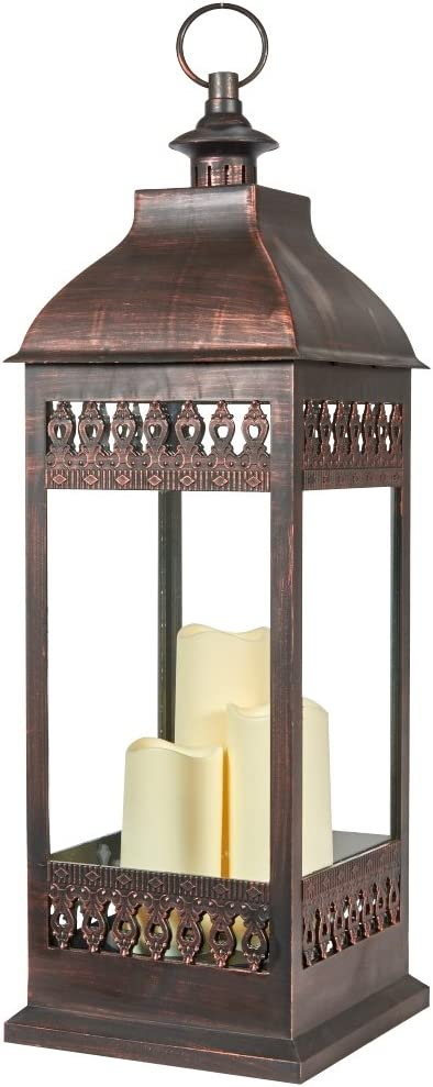Smart Design San Nicola Triple LED Candle, 28-Inch Tall, Antique Bronze, With Durable Poly Construction With Real Glass and Metal Hanging Loop, Powered By Three Integrated LEDs, 80071