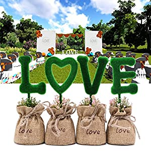 SCASTOE 4pc Artificial Fake Tree LOVE Letters Plant Grass Pot DIY Home Office Wedding Decor