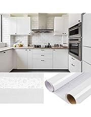 DTC 6M x 0,61M PVC Selbstklebend Tapete Küchen Aufkleber, Freier Schaber, Wasserfest Schrank Fensterbank folie Tapeten Vinyl für Wände Wand Türen Möbel Deko, 600 x 61cm Weiß