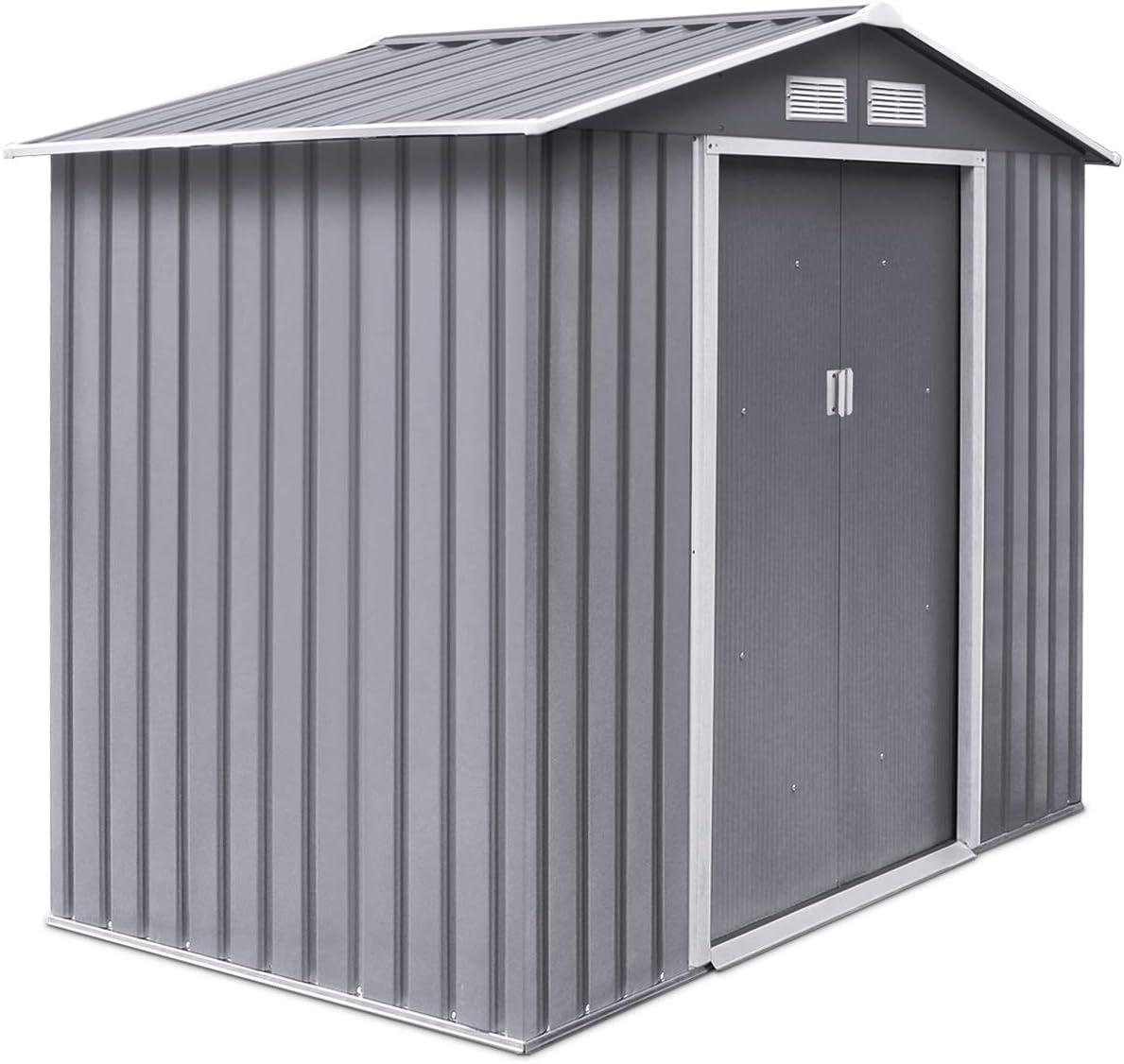 Cobway cobertizo de metal para jardín con puertas correderas dobles y techo de ventilación, base desmontable, resistente al agua y al óxido, hoja galvanizada: Amazon.es: Jardín
