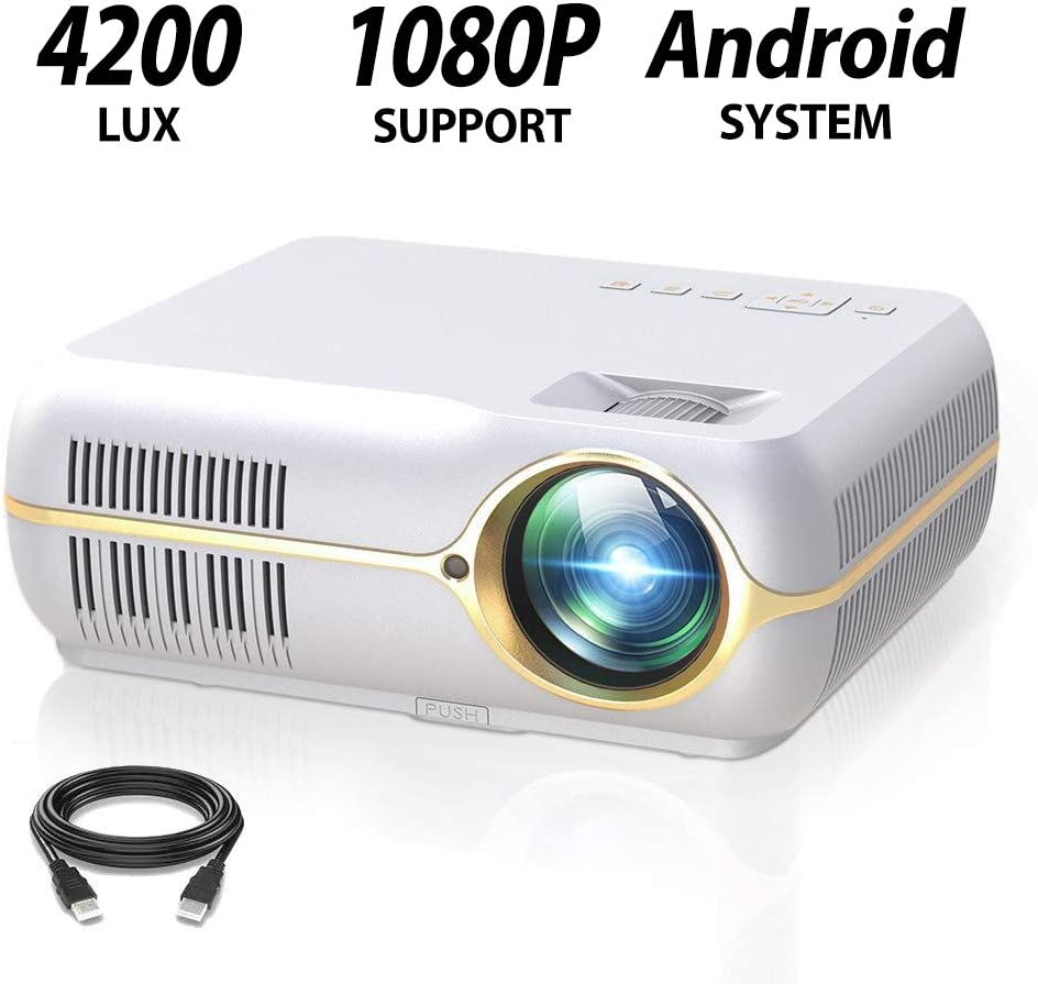 """ILIMPID Full HD Projector with 4200 Lux, Android Wireless Video Projector with 200"""" Projection Size,Home Movie Cinema Support 1080P HDMI in VGA AV USB with Free AV VGA Cable"""