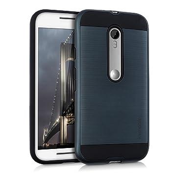 kwmobile Funda para Motorola Moto G (3. Gen) - Carcasa [híbrida] de [TPU] con diseño Dual en [Azul Oscuro/Negro]
