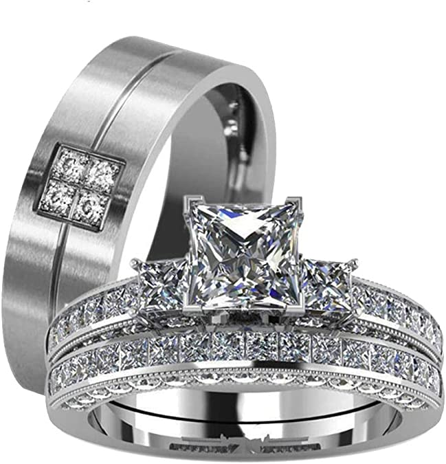 Pair of Stainless Steel Friendship Ring Partner Ring Engagement Rings with Cubic Zirconia
